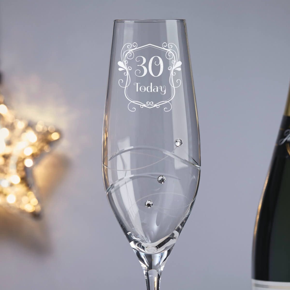 30th Birthday Champagne Flute With Spiral Design